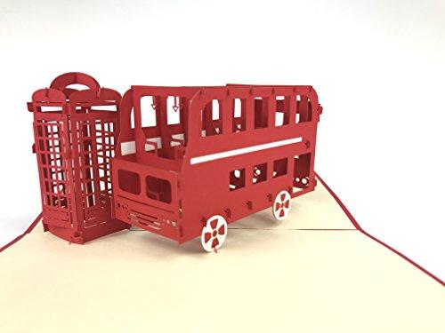 und London Bus 3D Pop up Grußkarten Jahrestag Baby Geburtstag Ostern Halloween Kinder Mutter Vater Home NEW YEAR Thanksgiving Weihnachten Valentine (Valentine Karten Für Kinder)