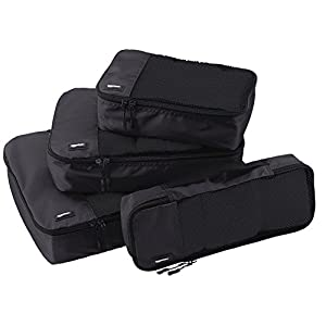AmazonBasics Bag Organizer Packing Cubes – Small, Medium, Large, and Slim (4-Piece Set), Black (ZH1509009)