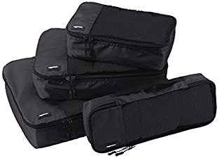 AmazonBasics Lot de 4 sacoches de rangement pour bagage Tailles S/M/L/Slim, Noir (B014VBGUCA) | Amazon price tracker / tracking, Amazon price history charts, Amazon price watches, Amazon price drop alerts