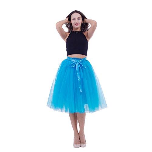 (ShowYeu Damen Tüllrock Tutu Prom Kleid Retro-Faltenrock Party Hochzeit Vintage Festlich Petticoat Blau)