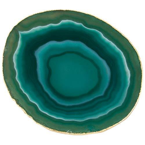 mookaitedecor Untersetzer mit vergoldetem Rand, Achatscheibe, Geodenstein, für Getränke, Kristall-Untersetzer, Quarz-Untersetzer, 8,9-9,9 cm, 2 Stück Green/Set of 2