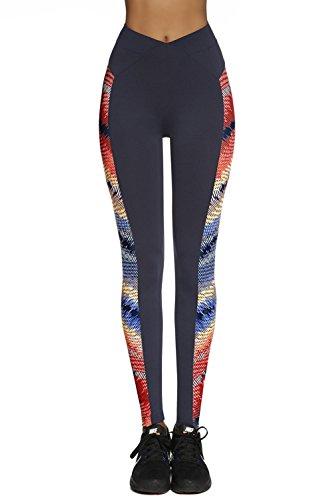 Bas Bleu Rainbow Leggings Damen Sport Hosen Gemustert Normaler Bund Lang EU Dunkelblau
