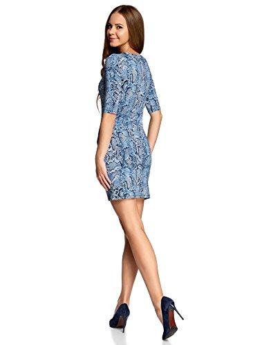 oodji Ultra Damen Enges Jersey-Kleid Blau (7975A)