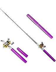 Mini canne à pêche télescopique avec Reel Topind Portable de poche en alliage d'aluminium rétractable Canne à pêche de stylo et moulinet combos