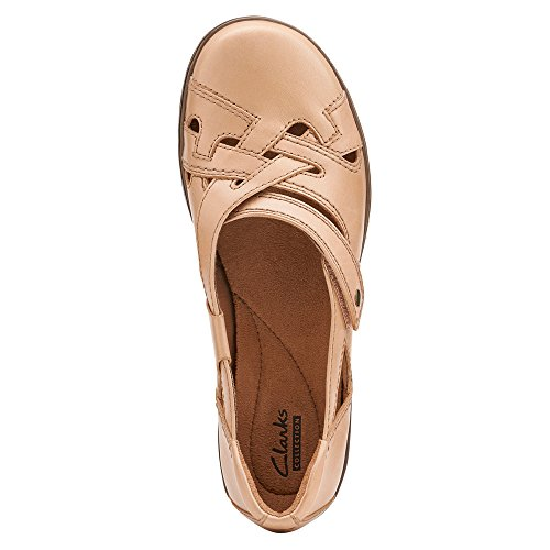 Clarks Evianna Peal piatto Beige Leather