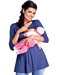 Zeta Ville - Premamá Top Camiseta de lactancia efecto 2 en 1 - para mujer - 945c