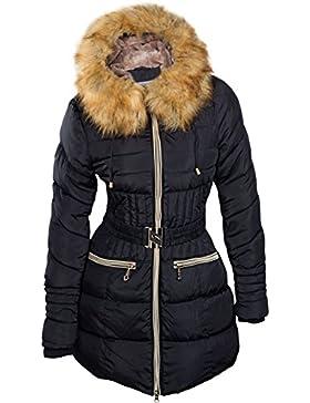 Abrigo de invierno para mujer, parka con pelo, con capucha, pelo largo, Alaska Gold, S M L XL XXL
