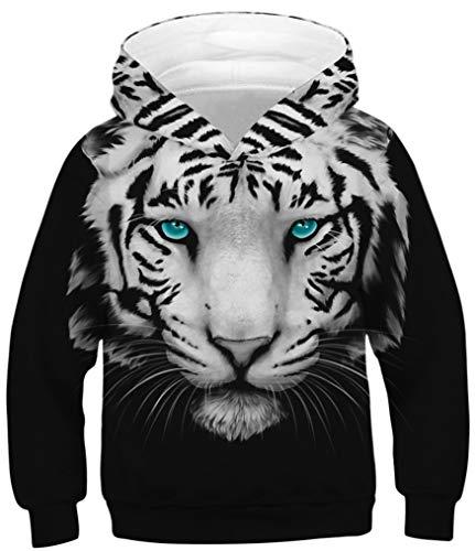 Ocean Plus Jungen Kapuzenpullover Bunt Teens Hoodie Kinder Langarm Pulli mit Kaputzen Sweatshirt Pullover (L (Körpergröße: 145-155cm), Grünäugiger weißer Tiger)