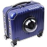 PJDDP Mochila rodante para Mascotas con Ruedas extraíbles y Barra de tracción para Gatos y Perros pequeños,Blue