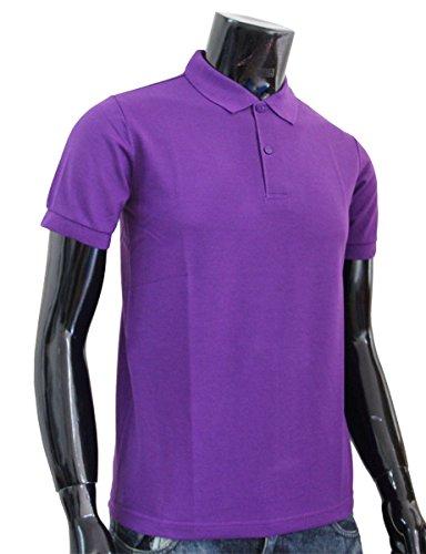 Bcpolo Männer Poloshirt Baumwollpikee beiläufige Kurzarm-Polo-Hemd Violett