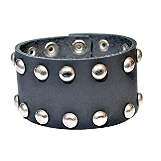 Christmas Special Alvi Genuine Leather Belt Design Band Bracelet Wristband Cuff for Men Button Clasp 7 to 8.5 Inch (Black)