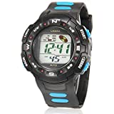 Men's Multi-Functional Round Dial Rubber Band LCD Digital Running Sport Wrist Watch (Assorted Colors)