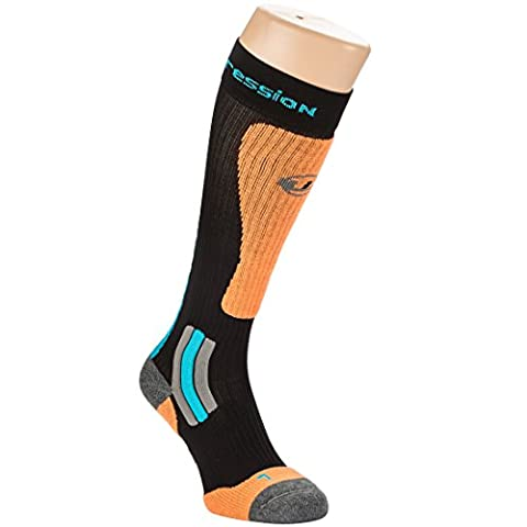 Ultrasport Ski Socken Thermo, Schwarz/Orange/Türkis, 35-38, 1353-200/184-35/38