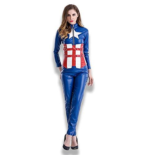 Halloween Kostüm Erwachsene Frau Captain America Jumpsuit