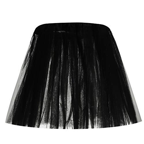 BASACA Jupe 2019 Printemps Été Nouveau Femme Fille Madame Fête Mode Paillette Élastique Jupe Courte 3 Couches Adulte Jupe Danse Tutu (Noir, Taille Libre)