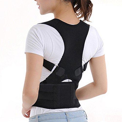 Corrector de postura ajustable, chaleco magnético, espalda ajustable, espalda lumbar y espalda alisada, correa de hombro, terapia de dolor, para hombres y mujeres para una mejor postura, color negro