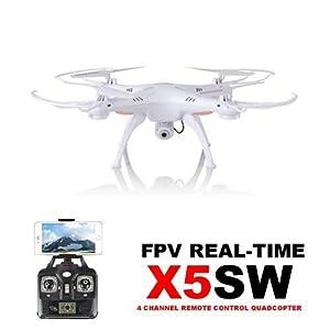 HB HOMEBOAT®Syma X5SW Wifi FPV Video Live-Übertragung Neueste RC Quadcopter UAV Drone RTF UFO mit FPV Kamera (weiß, Mode 2) +HB HOMEBOAT Akku 2pcs + Geschenk HB HOMEBOAT Motor-Set