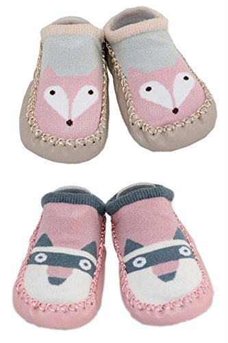 2 Pairs of Baby Boys Girls Indoor Slippers Anti-slip Shoes Socks 9-18 Months (Fox and Raccoon)