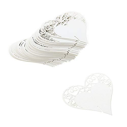 JZK 100 x Weiß Herz Glas Platzkarten Tischkarten Namenskarten Tischdeko Karte für Hochzeit Geburtstage Taufe Party Babyparty Baby Shower Festival