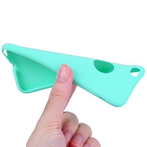Cover iPhone 6 Plus / 6S Plus (5.5),ToDo Custodia iPhone 6 Plus Gel Silicone TPU Morbido Elegant Ultra Tinta Unita Sottile Opaco Flessibile Gomma Cassa Protettiva Antiurto AntiGraffio Antiscivolo Leg Nero + Menta verde