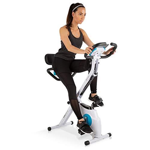 Klarfit Azura Plus 3-in-1 Heimtrainer • Fitnessbike • Fitness-Fahrrad • Cardio-Training • Riemenantrieb • Pulsmesser • Flexible Zugbänder • 8-stufiger Magnetwiderstand • Tablet-Halterung • weiß (Training Fahrrad)