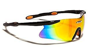 Occhiali da Sole X-Loop - Sport - Protezione - Ciclismo - Running - Moto - Sci - Tennis / Mod. 055P Nero e Arancio Diesel Iridium Specchio