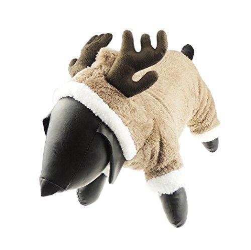 Niedliche Festive Weihnachten braun Rentier Geweih Kapuzen Hund Katze Warm Dick Fleece Jumpsuit Jacke (Up Rentier Ideen Dress)