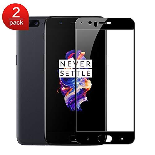MSOSA OnePlus 5 Panzerglas BildschirmSchutzfolien, [2 Stück] Full Coverage Hartglas Schutzfolien [Blasenfrei] [Anti-Scratch] [HD Clear] [9H Härte] -Schwarz