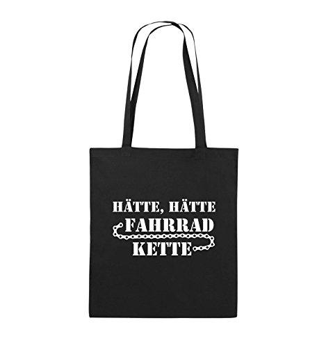 Comedy Bags - HÄTTE HÄTTE FAHRRAD-KETTE - Jutebeutel - lange Henkel - 38x42cm - Farbe: Schwarz / Pink Schwarz / Weiss