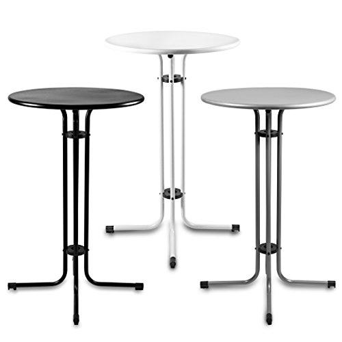 Estexo® Metall Stehtisch Ø 70 cm, Bistrotisch, Partytisch, Gartentisch, Tisch, Garten, Bar (Grau)