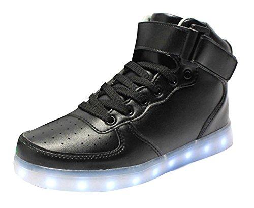 [presente: Toalha Pequena] Junglest® Unisex Levou Cobrando Alta Sneaker Preto Tu Brilhante De Alta-top Sapatos Desportivos 7 Cores Mudança De Cor Usb