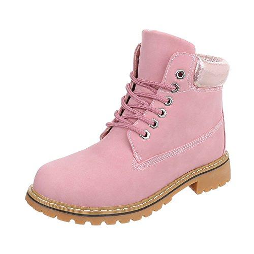 Chaussures femme Bottes et bottines Bloc Bottines à lacet Ital-Design Rose