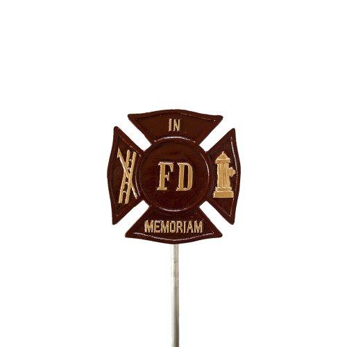 Montague Metal Products Grabmarkierer und Flaggenhalter Feuerwehrmann Malteserkreuz, Ziegelrot mit Gold (Feuerwehrmann-statuen)