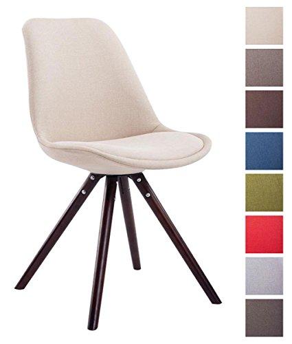 CLP Sedia dal design vintage TOULOUSE con gambe rotonde in legno color cappuccino, seduta in tessuto e imbottita. crema