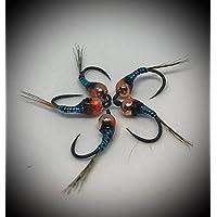 Máximo Clini Color Perdigones Azul y Negro, imitación de ninfa de effimera, (Pack de 9artificiales Tre para tamaño, costruita sobre anzuelos Barbless cecoslovacchi, conforme al FPersV FIPS Mouche