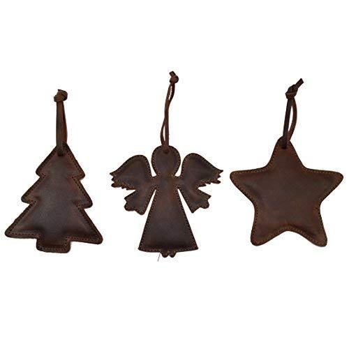 Hide & Drink Rustik Leder Weihnachten Zum aufhängen Ornament Baum-Deko-Set von 3Handgefertigt von Bourbon Braun