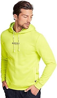 Guess - Sudadera con capucha de color amarillo neón con logotipo frontal para hombre y chico FLUO M