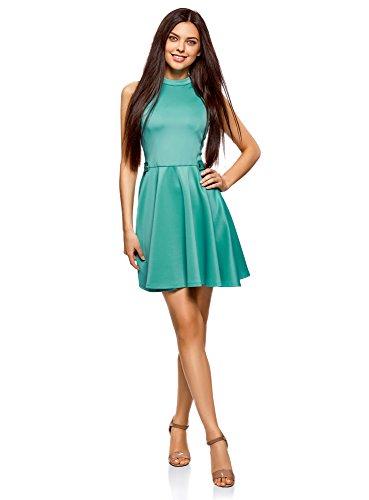 oodji Ultra Damen Kleid mit Ausgestelltem Rock und Rückenausschnitt, Türkis, DE 36 / EU 38 / S