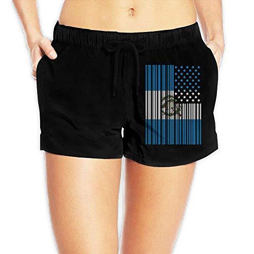 Bar Coded USA Guatemalan Flag Women's Fashion Beach Shorts Casual Classic Swimming Shorts Pockets(S) (Royal Shorts Mesh Blue Classic)