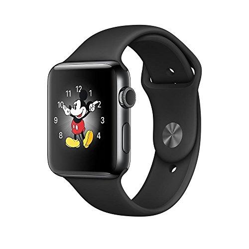 Apple-MP4A2MPA-Smartwatch-Series-2-42mm-Stainless-Steel-Schutzhlle-mit-Sport-Band-space-schwarz