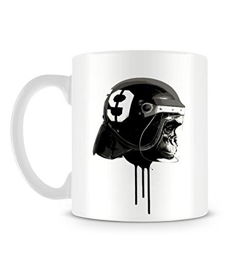 Black and White Chimp Painting With American Football Helmet Design Tasse