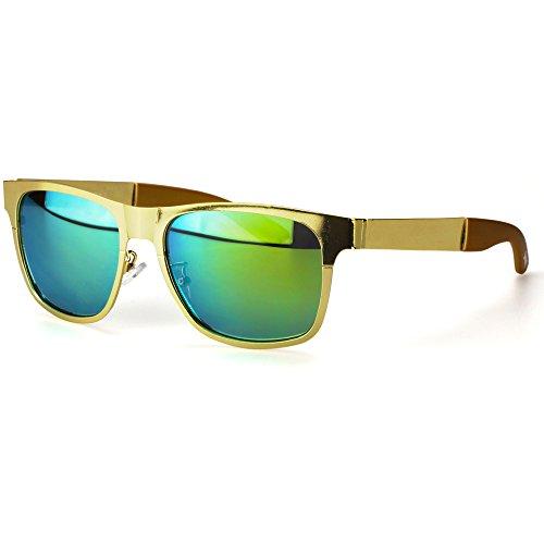 Sense42 | Retro Sonnenbrille | Vintage-Look für Damen und Herren | verspiegelte Gläser | mit Federscharnier-Bügel | Metallrahmen |blau, gold, grün, orange, silber