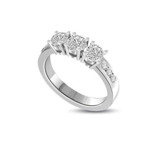0,45 quilates G/VS1 Anillo de Trilogía de diamante para mujer con Redonda diamantes en 18k Oro blanco