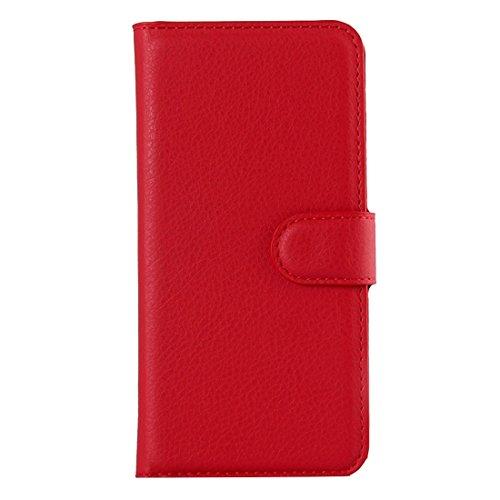 Wkae Case Cover Für iPhone 6 Plus & 6s Plus-Litchi Texture Horizontal-Schlag-Leder-Kasten mit Halter & Card Slots & Wallet ( Color : White ) Red