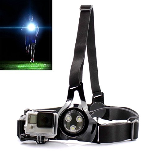 PANNOVO Waterproof running light fill light , outdoor sports phtotography light and gopro shoulder chest belt elasticity strap for gopro hero 3 3+ 4 5 session