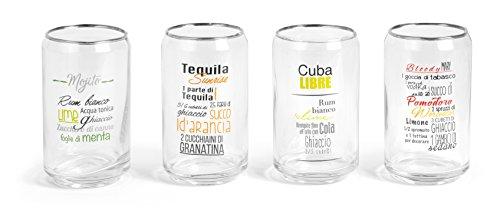 Set di 4 bicchieri cocktail o bibita in vetro a forma di lattina con 4 ricette di diversi cocktail per poter rendere creativo ogni vostro aperitivo, diam. cm 6 x 12 h ml 300