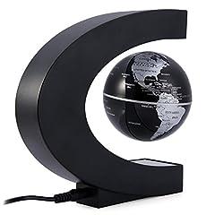 Idea Regalo - OULII C forma levitazione magnetica galleggiante globo mappamondo con luci a LED per la decorazione di scrivania (Plug EU) - compleanno regalo di Natale per bambini