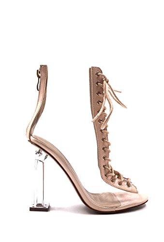CHIC NANA . Chaussure Femme Mode Bottine à talon transparent, à lacet, bout ouvert. Beige