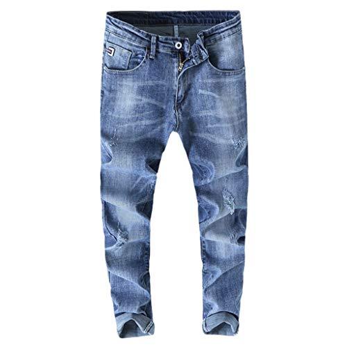 Setsail Herren Casual Denim Gerade Loch Slim Fit Hosen Jeans Lange Hose Alltagskleidung -