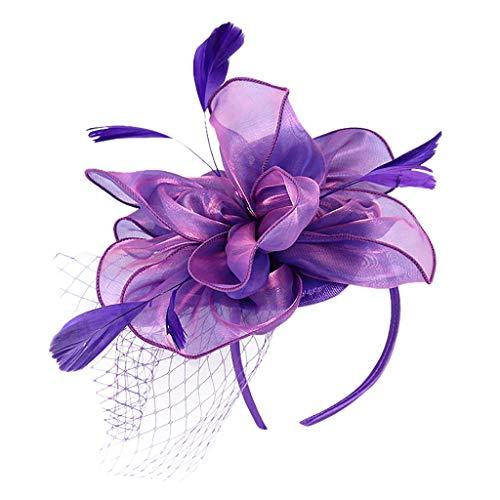 Beonzale Faszinator Feder Flower Mesh Flapper Headband Große Gatsby Kopfschmuck Kopfbedeckung Mesh Vintage HaarZusätze Blume Hüte
